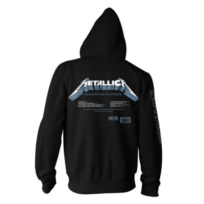 Metallica-Master Of Puppets Tracks Black Pullover - Back - RTMTLHDBMAS