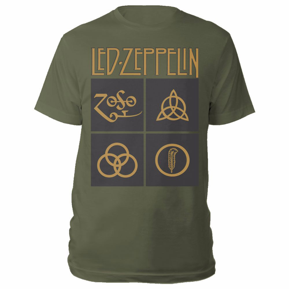 985bb3a06 Led Zeppelin - Gold Symbols In Black Square Olive Green T-shirt ...