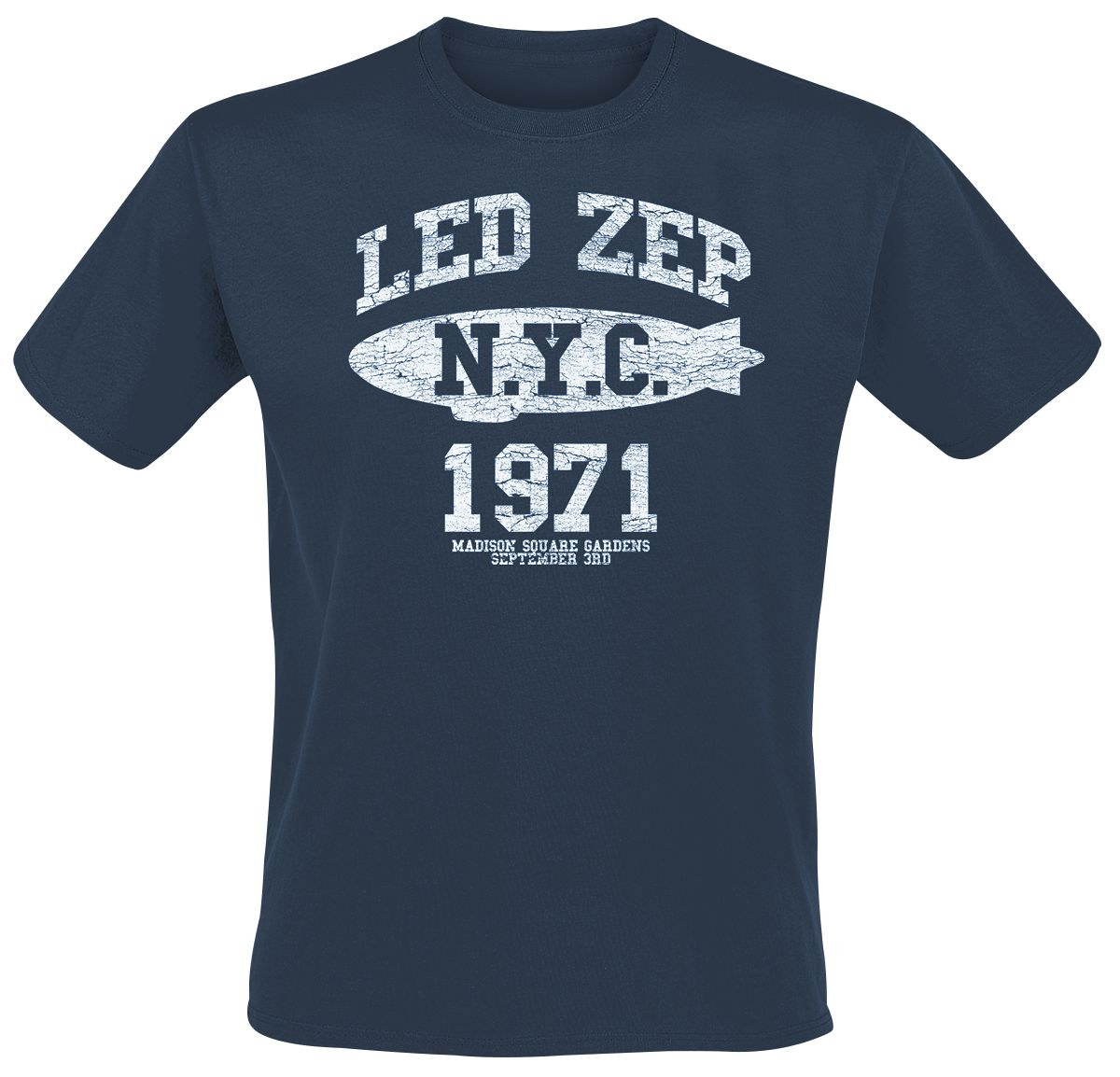 Led Zeppelin NYC 1971 Navy T-Shirt - Probity Wholesale b6f6b15ec50