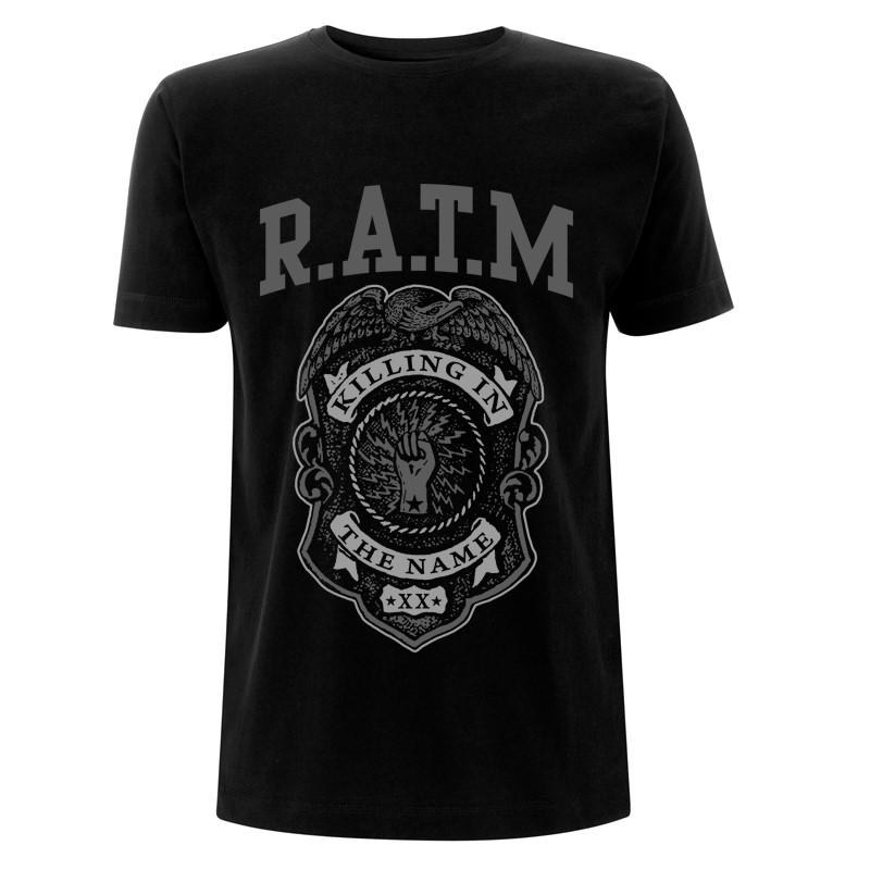 RATM-Grey Police Badge-Black Tee RTRAMTSBPOL