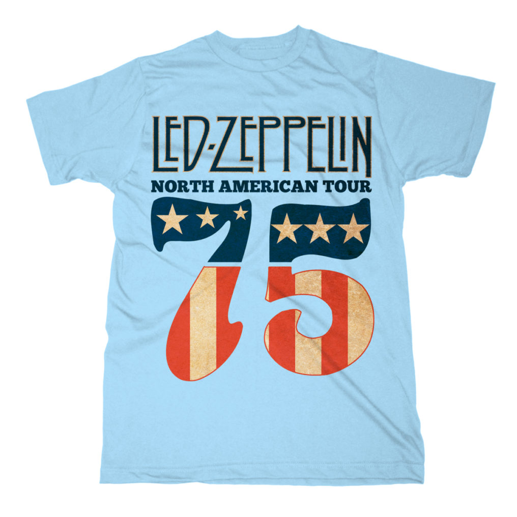 RTLZETSB1975 Led Zeppelin 1975 North American Tour Blue T