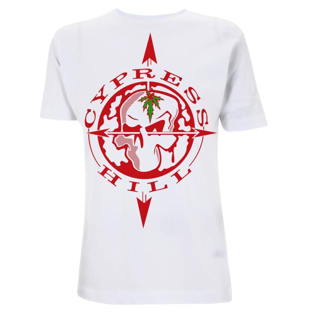 Cypress Hill-Skull Compass-White Tee CPHTSWSKU